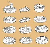 Black And White Line Drawing Of International Food Icon Collection Set, Create By Vector
