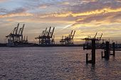 Hamburg - Port At Sunset With Container Gantry Cranes