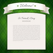 Green St Patricks Day Background with Copy Space