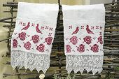 Towel With Embroidery Hanging On The Fence