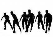 Silhouette athletes of skates on white background