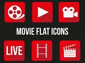 Movie square icons set.
