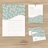 Vector set of floral vintage wedding cards on wood texture, invi