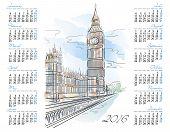 Vector template of 2016 calendar with Big Ben