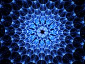 Blue Glowing Virus Shape Fractal