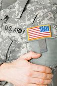 Usa Flag Shoulder Patch On Solder's Uniform