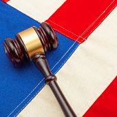 Wooden Judge Gavel Over Us Flag - Closeup Shoot