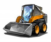 picture of skid-steer  - A small skid loader in polygonal style - JPG