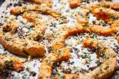 Baked Pumpkin Slices With Herbs. Selective Focus
