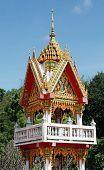 closeup the beautiful Buddhist temple gable, Thailand