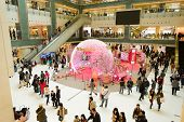 HONG KONG, CHINA - FEBRUARY 04, 2015: shopping center interior before Chinese New Year. In Hong Kong a wide selection of clothing boutiques, designer flagship stores, restauranta and etc