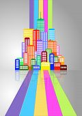 picture of suburban city  - illustration of urban city skyline with colorful lines - JPG