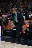VALENCIA, SPAIN - FEBRUARY 11: Lokomotiv coach during Eurocup match between Valencia Basket Club and Lokomotiv Kuban Krasnodar at Fonteta Stadium on February 11, 2014 in Valencia, Spain
