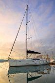 Yacht in a marina.