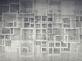Abstract Chaotic Square Cells Structure On Concrete Wall