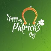 a green background with text and a horseshoe for patrick's day