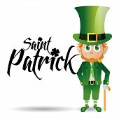 an irish elf with traditional clothes and text for patrick's day