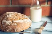 round bread on wooden table