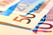Euro banknotes, macro view