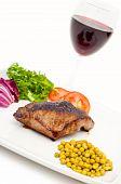 Pan Fried Steak Green Peas Vegetables And Wine