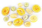 Squeezed citrus fruits isolated on white