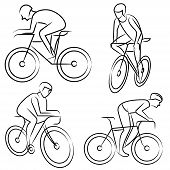man riding a bicycle set