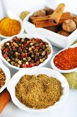 Different kinds of spices in ceramics bowls and spoons on light background