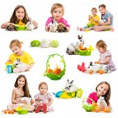 easter photo collection of children with rabbits on a white background
