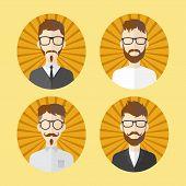 adorable hipster guy cartoon