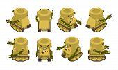 pic of khakis  - Isometric khaki military robot on crawler tracks - JPG