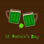 St Patricks Day Two Clink Green Beer Glasses Mug With Foam Cap Froth Bubble And Clover Leaf. Flat De
