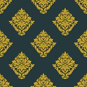 Seamless abstract yellow victorian flowers pattern