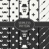 picture of mustache  - Set of monochrome hipster fashion geometri seamless pattern with mustache - JPG