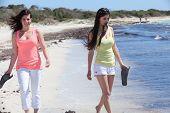 Women At The Beach Holding Their Flip Flops