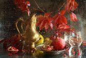 Still-life With A Pomegranate, A Lemon, Wild Grapes And A Copper Jug