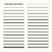Hand drawn vector line border set and scribble design element. Geometric monochrome vintage fashion
