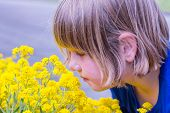 Young girl smelling yellow flowers