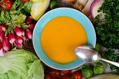 Plate Of Pumpkin Soup With Vegetables