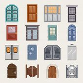 pic of architecture  - Door house entrance architecture elements flat icon set isolated vector illustration - JPG