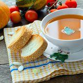 pumpkin soup and vegetables