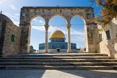 stock photo of aqsa  - Dome of the rock on the Temple Mount in Jerusalem - JPG