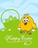 Easter card with decorated eggs and cute chicken