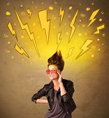 Young woman with hair style and hand drawn lightnings concept on background