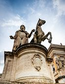 Rome, Italy - November 17, 2014:  Statue un a  Piazza del Campidoglio in Roma, Italy