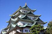 Historic Nagoya castle against blue sky