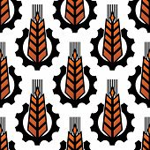 Wheat in gears seamless agriculture pattern