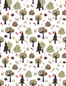 Vector pattern with birds and trees