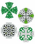 Green and white knotted celtic crosses