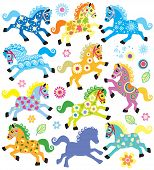 set with decorative horses