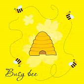Busy bees around beehive
